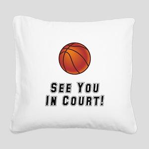 Basketball Court Black Square Canvas Pillow