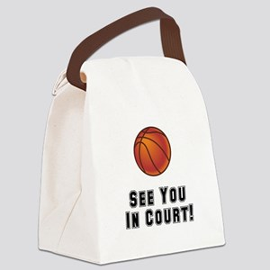 Basketball Court Black Canvas Lunch Bag