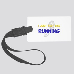 Felt Like Running Yellow Large Luggage Tag