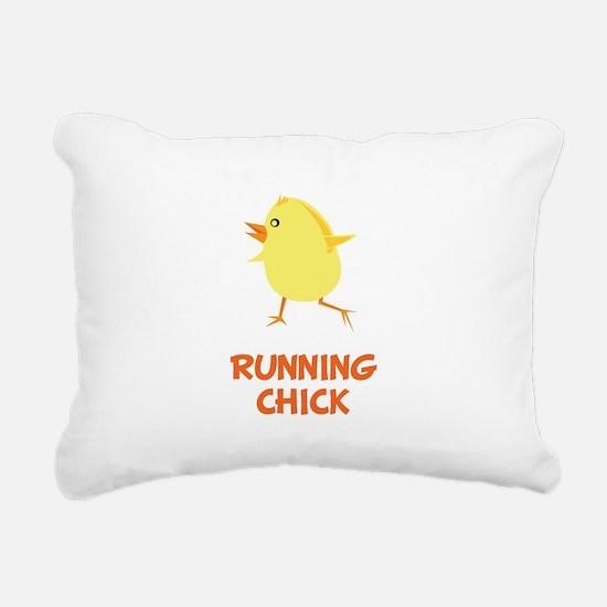 Running Chick Orange.png Rectangular Canvas Pillow