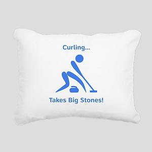 Curling Stones Blue Rectangular Canvas Pillow