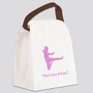 Kick Like A Girl Pink Canvas Lunch Bag