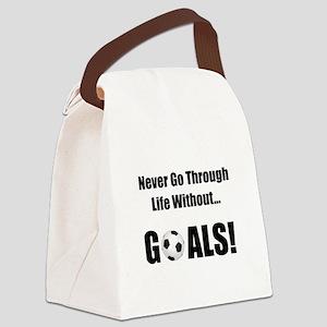 Soccer Goals Black Canvas Lunch Bag