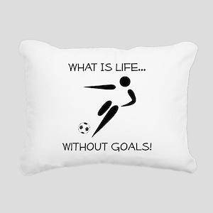 Soccer Goals Black Rectangular Canvas Pillow