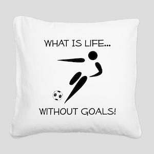 Soccer Goals Black Square Canvas Pillow