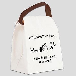 Triathlon Mom Black Canvas Lunch Bag
