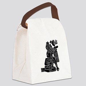 Mexican Aztec Seal Black White Canvas Lunch Ba