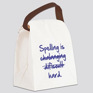 Spelling Is Hard Blue Canvas Lunch Bag