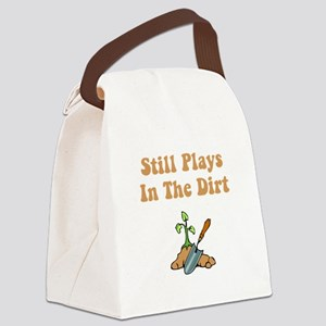 Plays In Dirt Brown Canvas Lunch Bag
