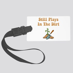 Plays In Dirt Brown Large Luggage Tag