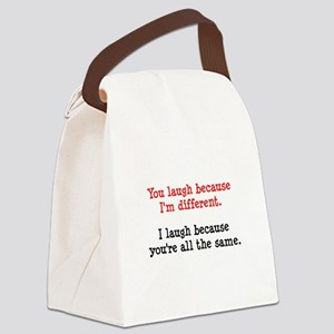 Laugh Different Black Canvas Lunch Bag