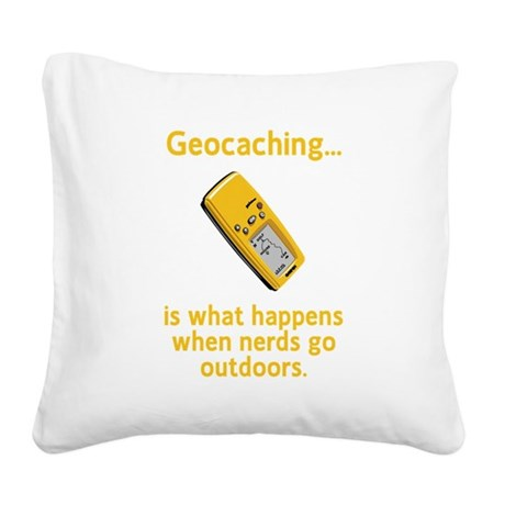 Geocaching Nerds Yellow.png Square Canvas Pillow