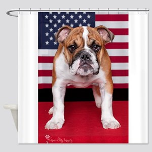 All American Bulldog Shower Curtain