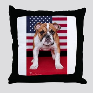 All American Bulldog Throw Pillow