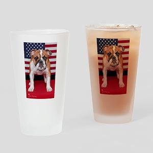 All American Bulldog Drinking Glass