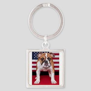 All American Bulldog Square Keychain