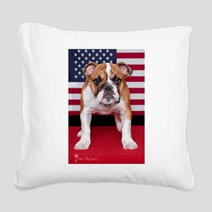 All American Bulldog Square Canvas Pillow