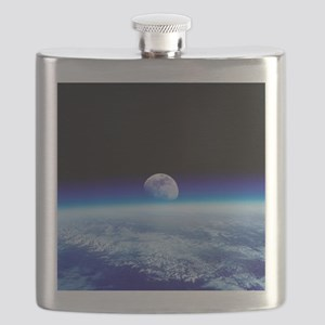 Moon rising over Earth's horizon - Flask