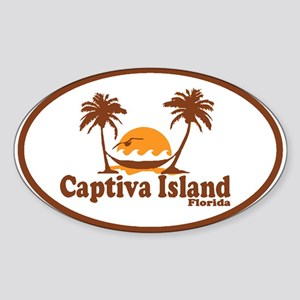 Captiva Island - Palm Trees Design. Sticker (Oval)