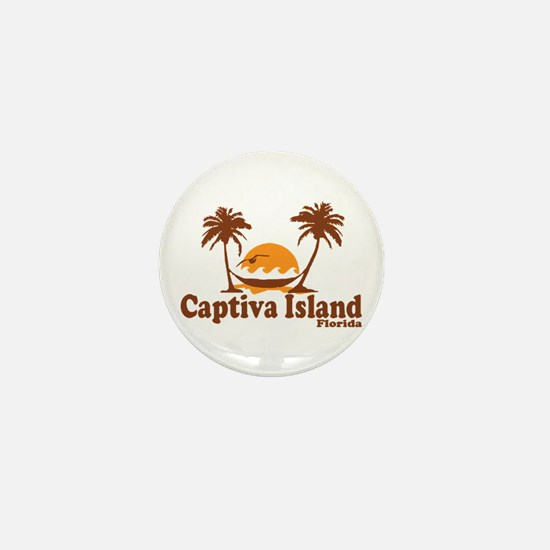 Captiva Island - Palm Trees Design. Mini Button