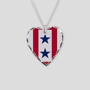 Blue Star Flag 2 Necklace Heart Charm