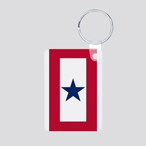 Blue Star Flag Aluminum Photo Keychain