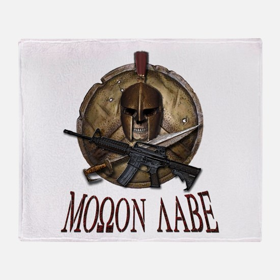 Molon Labe Spartan w Carbine 3 Throw Blanket