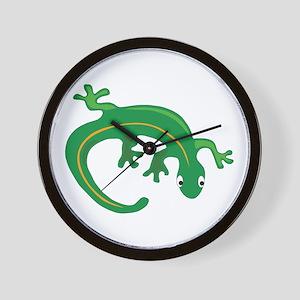 Green Lizard Twist Wall Clock