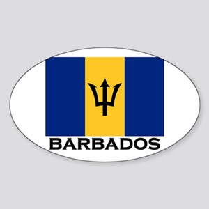 Barbados Flag Stuff Oval Sticker