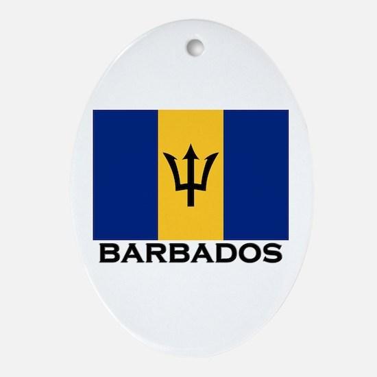 Barbados Flag Stuff Oval Ornament