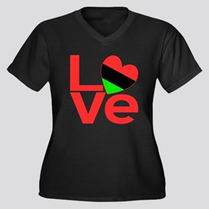 African American Love Women's Plus Size V-Neck Dar