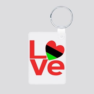 African American Love Aluminum Photo Keychain