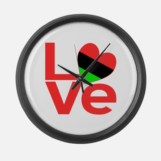 African American Love Large Wall Clock