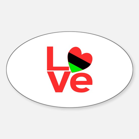 African American LOVE Sticker (Oval)