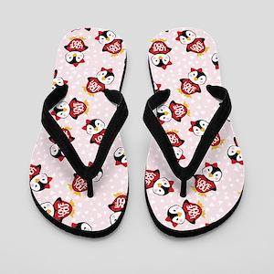 Funny Love You Penguin Valentines Flip Flops
