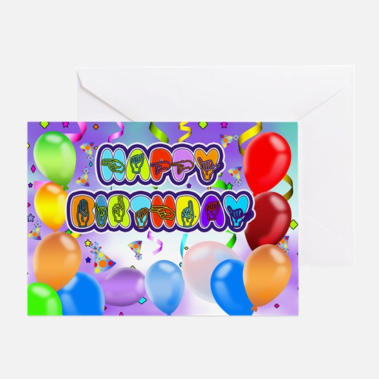 Deaf Language Happy Birthday Greeting Card In Sign