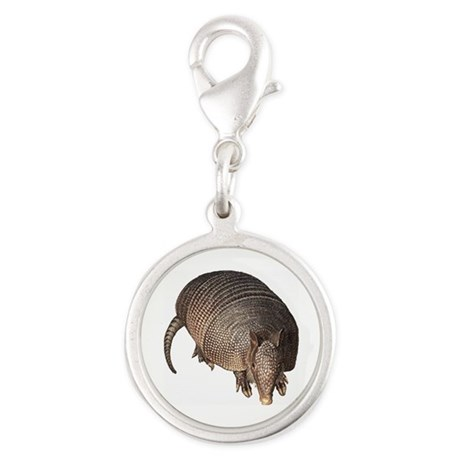 Armadillo Silver Round Charm