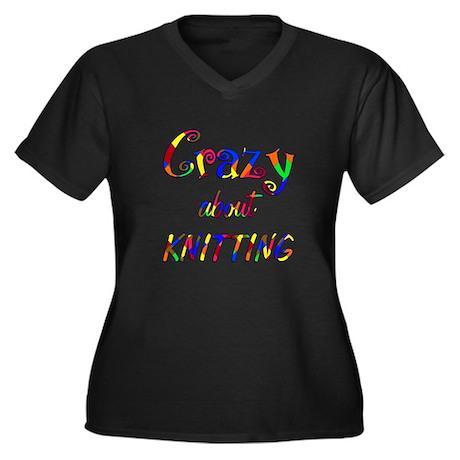 Crazy About Knitting Women's Plus Size V-Neck Dark