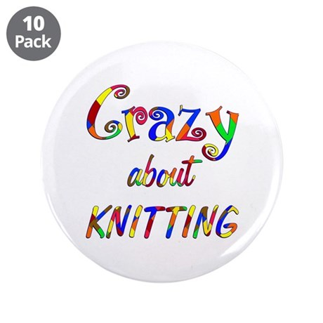 """Crazy About Knitting 3.5"""" Button (10 pack)"""