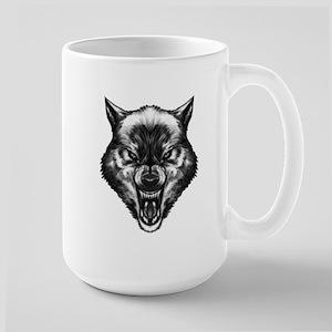 Angry wolf Large Mug