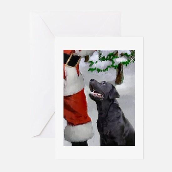 black lab and santa rectangle Greeting Cards