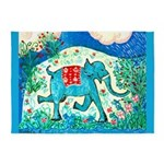 Galloping Blue Elephant 5'x7'Area Rug