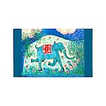 Galloping Blue Elephant 3'x5' Area Rug
