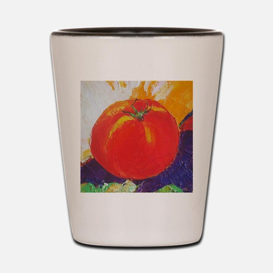 Cool Red tomato art Shot Glass