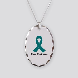 Teal Ribbon Awareness Necklace Oval Charm