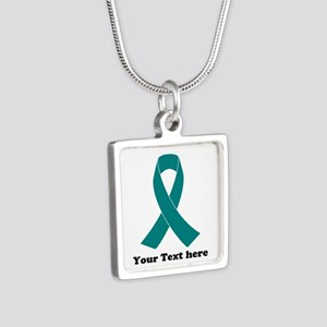 Teal Ribbon Awareness Silver Square Necklace