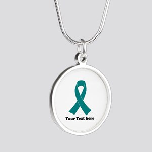 Teal Ribbon Awareness Silver Round Necklace
