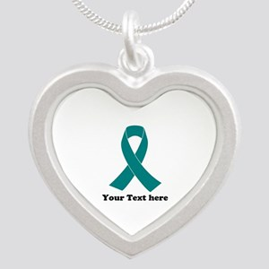 Teal Ribbon Awareness Silver Heart Necklace