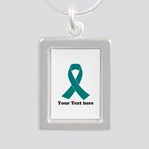 Teal Ribbon Awareness Silver Portrait Necklace