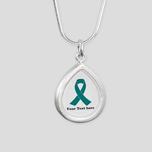 Teal Ribbon Awareness Silver Teardrop Necklace